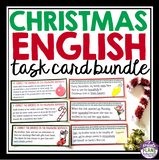 CHRISTMAS TASK CARDS GRAMMAR, PARTS OF SPEECH, FIGURATIVE LANGUAGE, & VOCABULARY