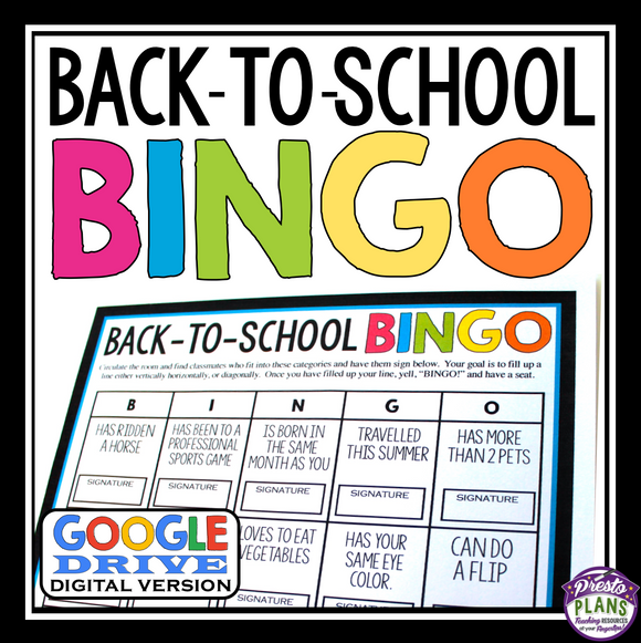 BACK TO SCHOOL ACTIVITY: BINGO