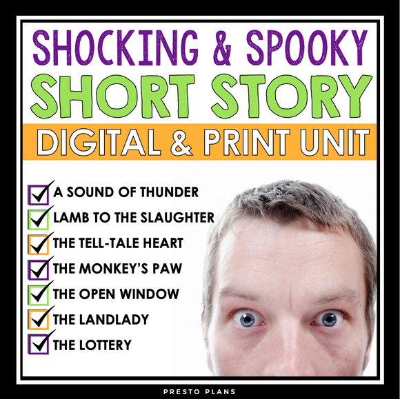 SHORT STORY UNIT: SCARY SURPRISING STORIES - DIGITAL PRINT BUNDLE
