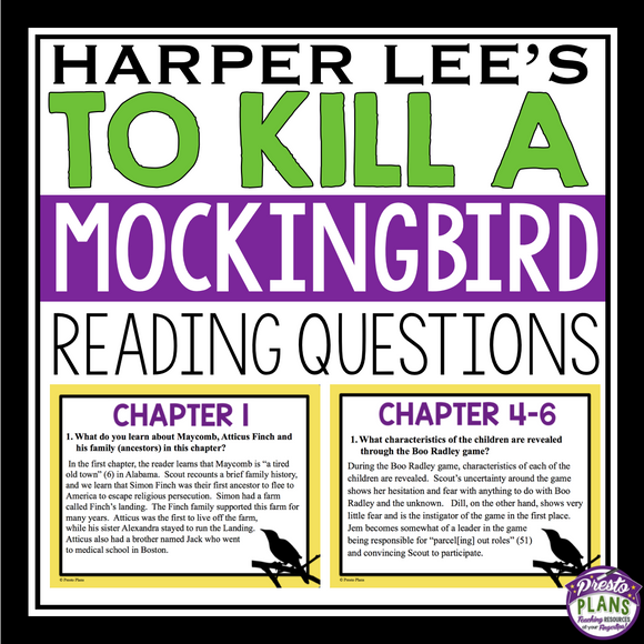 TO KILL A MOCKINGBIRD READING COMPREHENSION QUESTIONS
