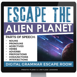 DIGITAL PARTS OF SPEECH ESCAPE ROOM GOOGLE | DISTANCE LEARNING