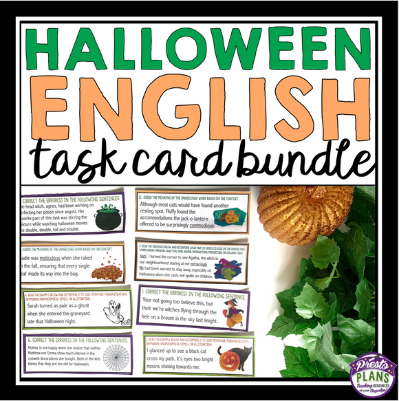 HALLOWEEN TASK CARDS GRAMMAR, PARTS OF SPEECH, FIGURATIVE LANGUAGE, & VOCABULARY