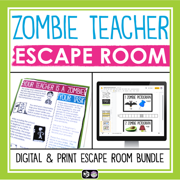 ESCAPE ROOM ZOMBIE TEACHER PRINT AND DIGITAL BUNDLE