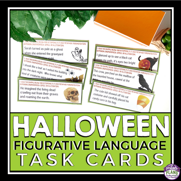 HALLOWEEN FIGURATIVE LANGUAGE TASK CARDS ACTIVITY