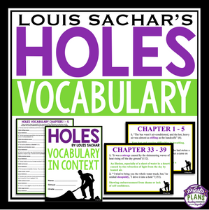 HOLES VOCABULARY BOOKLET AND PRESENTATION SLIDES