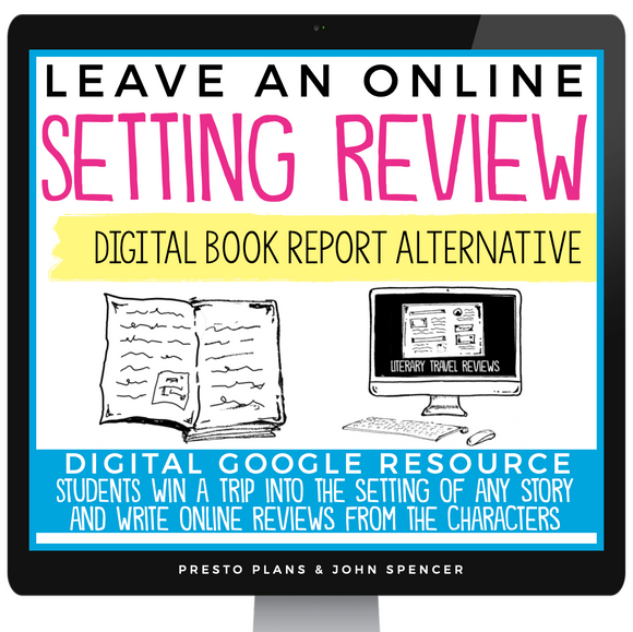 DIGITAL BOOK REPORT PROJECT FOR ANY STORY - SETTING REVIEW | DISTANCE LEARNING