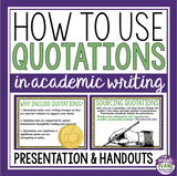 QUOTATIONS IN ESSAY WRITING PRESENTATION & HANDOUTS