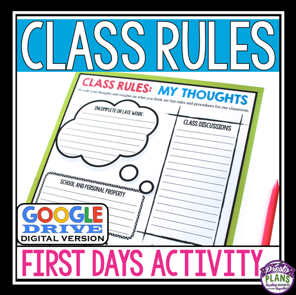 BACK TO SCHOOL RULES DIGITAL ACTIVITY FOR GOOGLE DRIVE / GOOGLE CLASSROOM