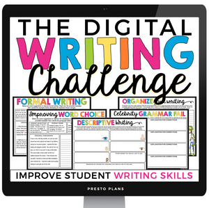 DIGITAL WRITING CHALLENGE ACTIVITIES GOOGLE | DISTANCE LEARNING