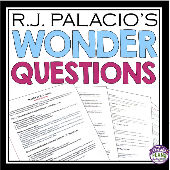 WONDER BY R.J. PALACIO READING QUESTIONS