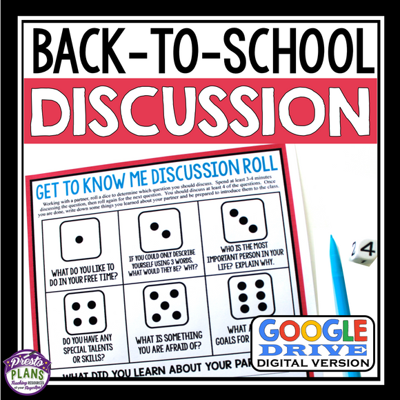 BACK TO SCHOOL ACTIVITY: DISCUSSION ROLL