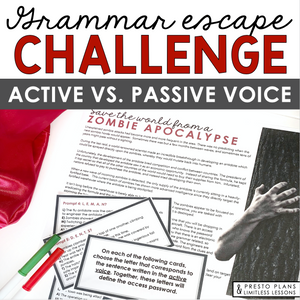 ACTIVE VS. PASSIVE VOICE GRAMMAR ACTIVITY INTERACTIVE ESCAPE CHALLENGE