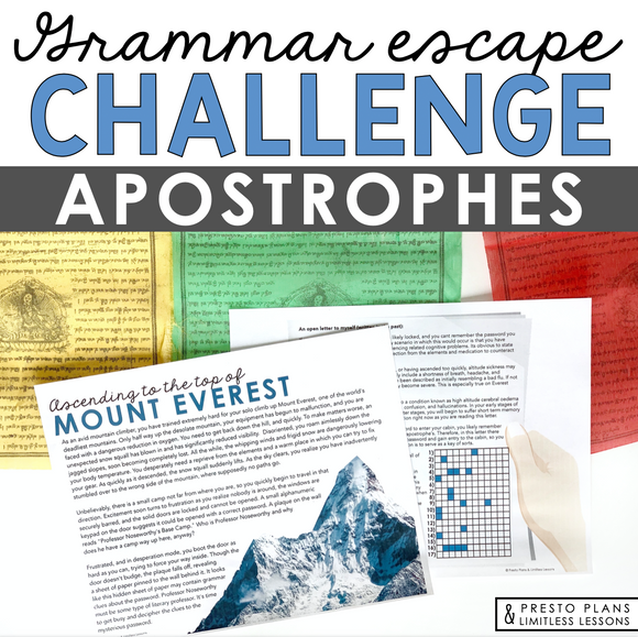 APOSTROPHES GRAMMAR ACTIVITY INTERACTIVE ESCAPE CHALLENGE