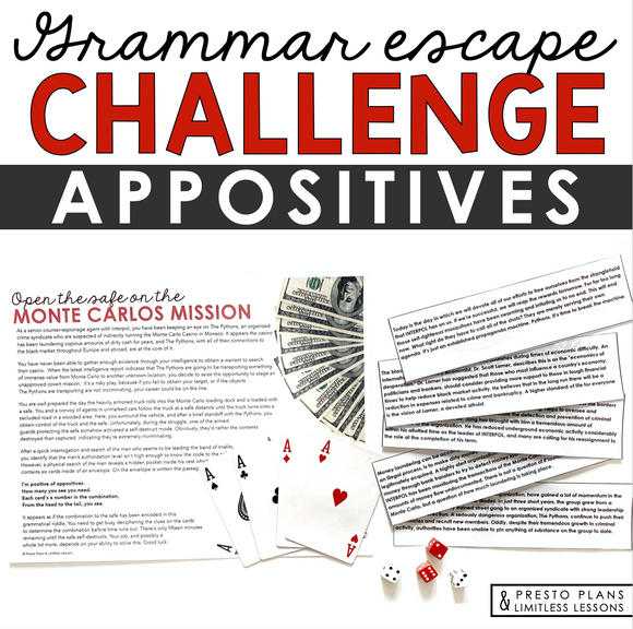 APPOSITIVES GRAMMAR ACTIVITY INTERACTIVE ESCAPE CHALLENGE