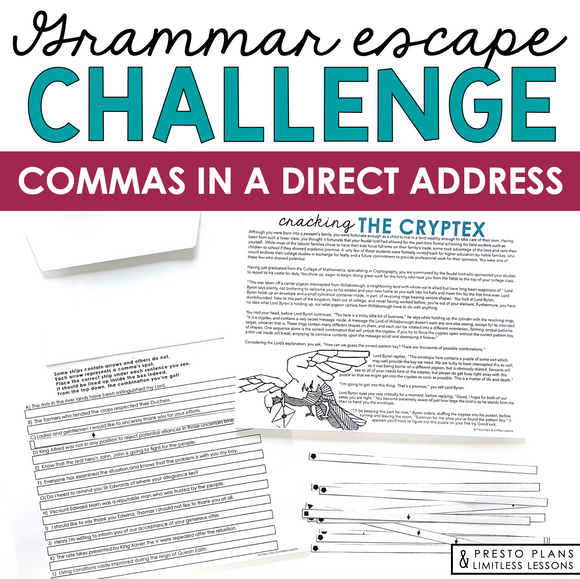 COMMAS WITH DIRECT ADDRESS GRAMMAR ACTIVITY INTERACTIVE ESCAPE CHALLENGE