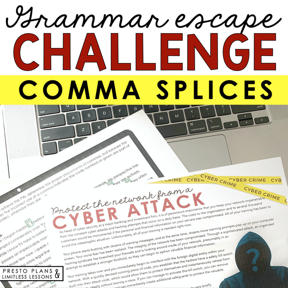 COMMA SPLICES GRAMMAR ACTIVITY INTERACTIVE ESCAPE CHALLENGE