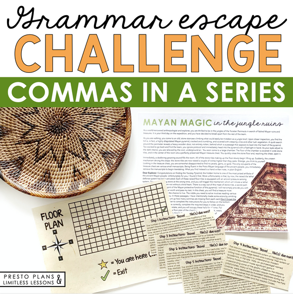 COMMAS IN A SERIES GRAMMAR ACTIVITY INTERACTIVE ESCAPE CHALLENGE
