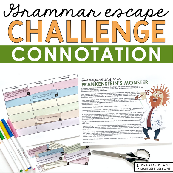 CONNOTATION GRAMMAR ACTIVITY INTERACTIVE ESCAPE CHALLENGE