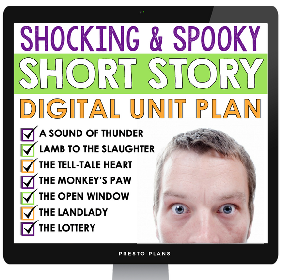 DIGITAL SHORT STORY UNIT: SCARY SURPRISING STORIES - DISTANCE LEARNING