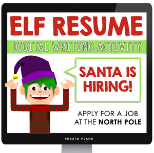 DIGITAL CHRISTMAS ASSIGNMENT - RESUME FOR AN ELF | DISTANCE LEARNING