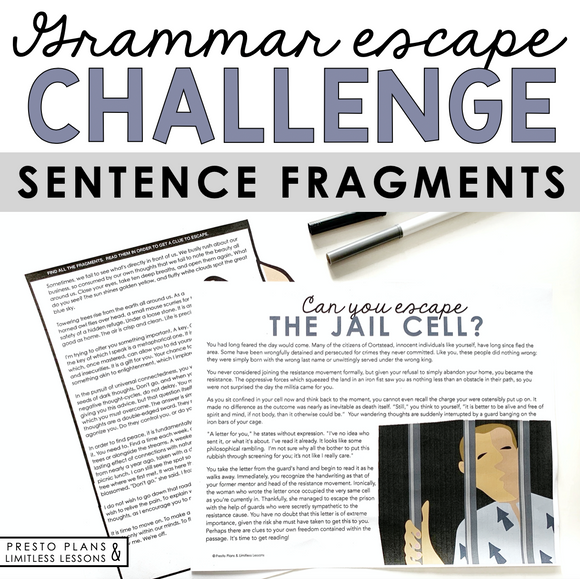 FRAGMENTS GRAMMAR ACTIVITY INTERACTIVE ESCAPE CHALLENGE