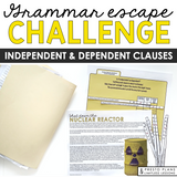 INDEPENDENT AND DEPENDENT CLAUSES GRAMMAR ACTIVITY INTERACTIVE ESCAPE CHALLENGE