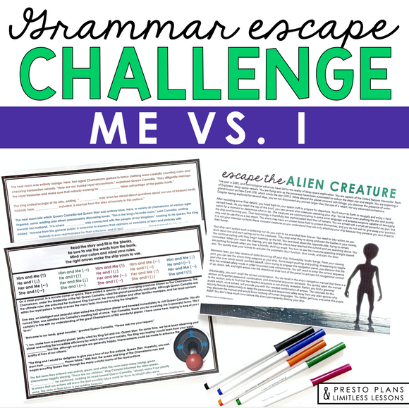 USING ME AND I GRAMMAR ACTIVITY INTERACTIVE ESCAPE CHALLENGE