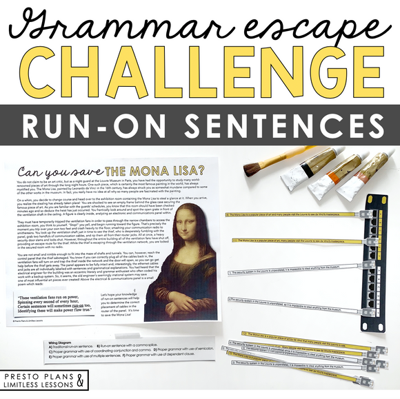 RUN-ON SENTENCES GRAMMAR ACTIVITY INTERACTIVE ESCAPE CHALLENGE