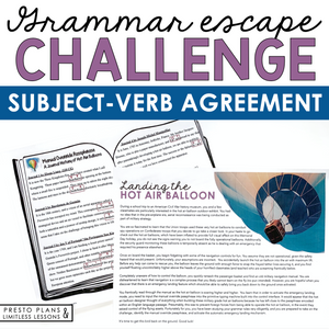 SUBJECT VERB AGREEMENT GRAMMAR ACTIVITY INTERACTIVE ESCAPE CHALLENGE