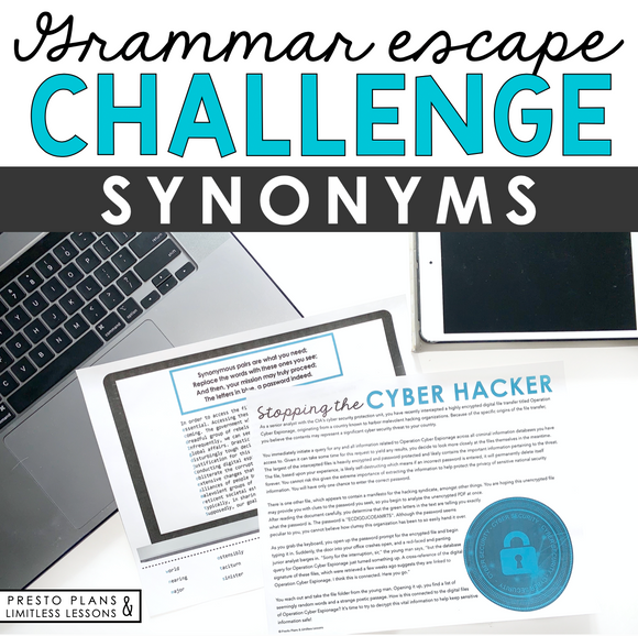 SYNONYMS GRAMMAR ACTIVITY INTERACTIVE ESCAPE CHALLENGE