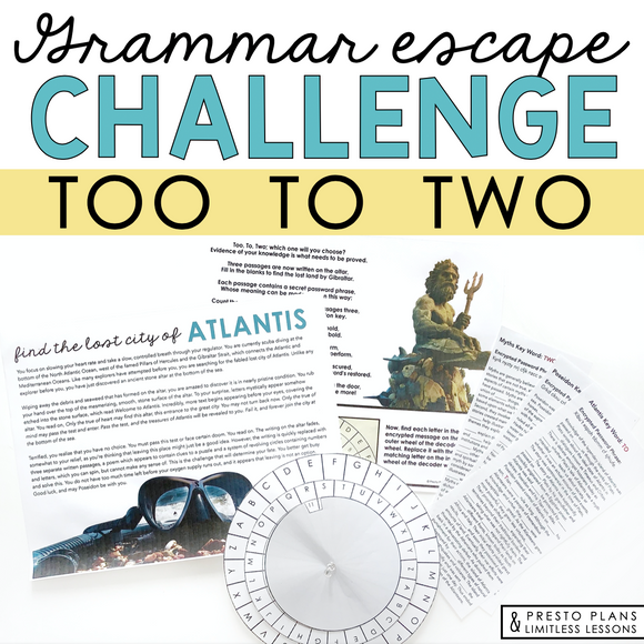 HOMOPHONES TOO TO TWO GRAMMAR ACTIVITY INTERACTIVE ESCAPE CHALLENGE