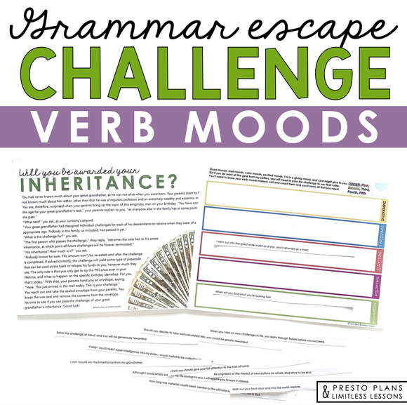 VERB MOODS GRAMMAR ACTIVITY INTERACTIVE ESCAPE CHALLENGE