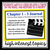 NUMBER THE STARS: VIDEO JOURNAL WRITING PROMPTS