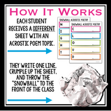 ACROSTIC POETRY WRITING ACTIVITY: SNOWBALL WRITING