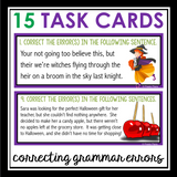 HALLOWEEN GRAMMAR TASK CARDS ACTIVITY