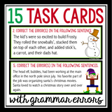 CHRISTMAS GRAMMAR TASK CARDS ACTIVITY