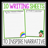 ST. PATRICK'S DAY WRITING PROMPTS, POSTER, & BOOKMARKS