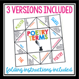 POETRY TERMS ACTIVITY: PAPER FORTUNE TELLER