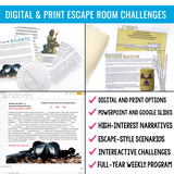 GRAMMAR CHALLENGE PROGRAM ESCAPE CHALLENGES  DIGITAL & PRINT BUNDLE |  DISTANCE LEARNING