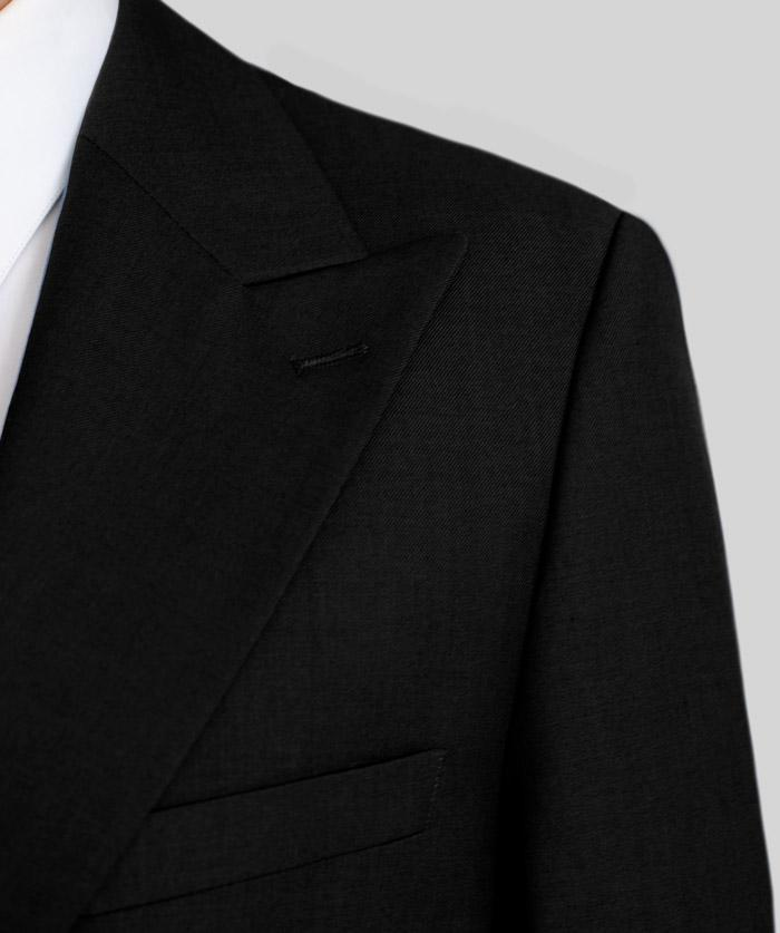 Black Two Button Wide Lapel Suit