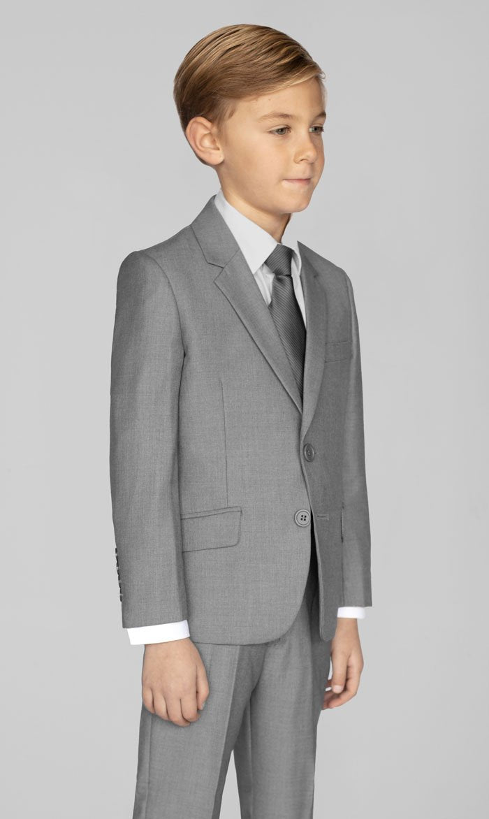Boys Light Grey Two Button Suit With Shirt & Tie