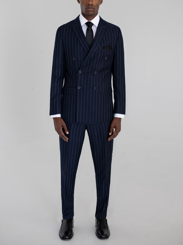 Navy Wide Pinstripe Double Breasted Tr Suit