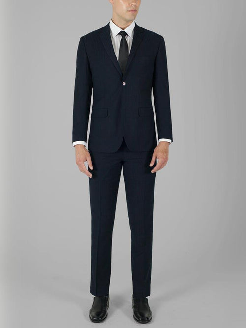 Navy Blue Tone-On-Tone Two Button Suit