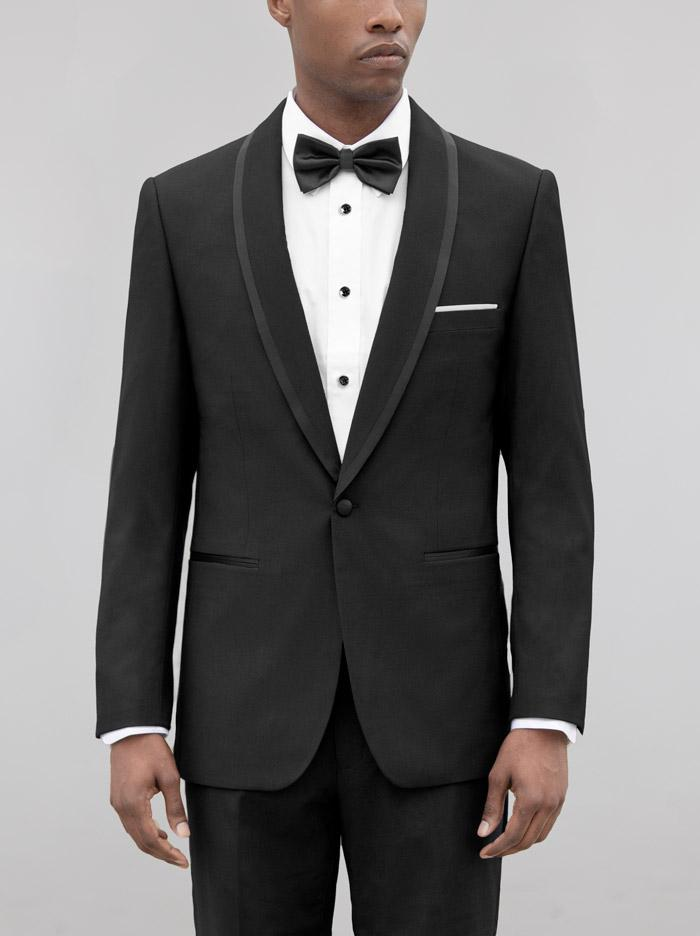 Black Birdseye Shawl Lapel Tuxedo With Black Trim