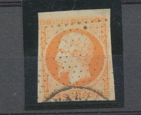 Second Empire Napoléon N°16 40c orange oblitéré pointillés. B/TB. A1224