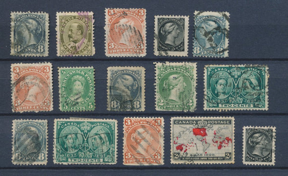 CANADA : Lot of 15 very old Stamps . Good used stamps High CV$400 A2066