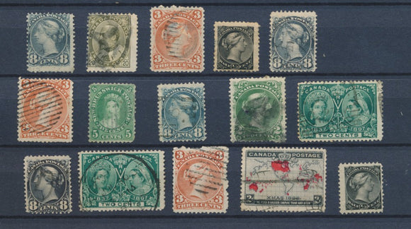 CANADA : Lot of 15 very old Stamps . Good used stamps High CV$400 A2069
