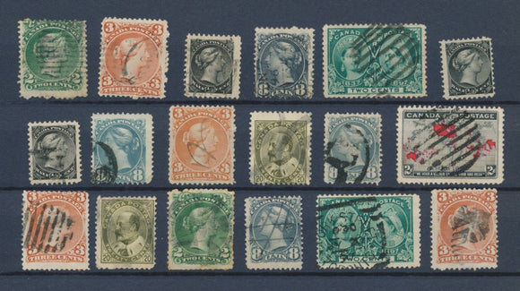 CANADA : Lot of 18 very old Stamps . Good used stamps High CV$400 A2072