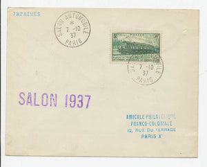 1937 Lettre Obli SALON AUTOMOBILE PARIS RARE C778