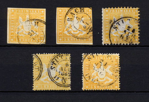 Germany wurtemberg 3k yellow selection. XF. H93